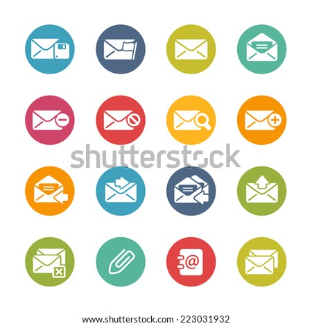 E-mail Icons // Fresh Colors Series ++ Icons and buttons in different layers, easy to change colors ++ - stock vector