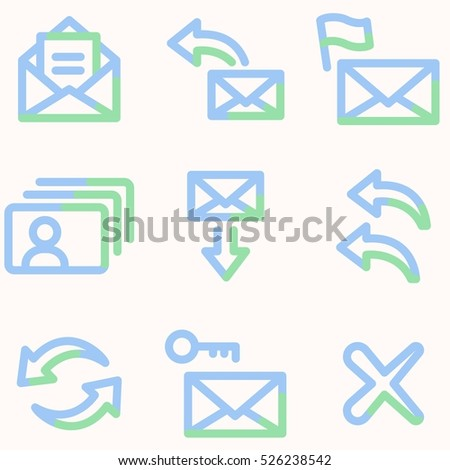 E-mail icons, light blue contour
