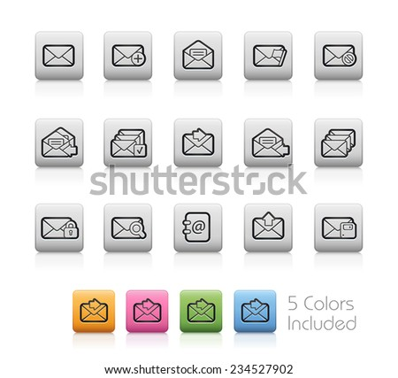 E-mail Icons // Outline Buttons - Each color in a layer. To see the desired color, you need to make it visible in the layer panel -- EPS 10+ Contain Transparencies - stock vector