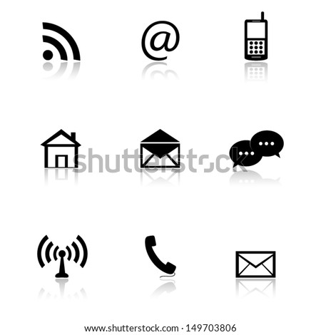 e-mail icons set, contact buttons - stock vector