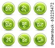 E-mail icons set 1, green circle glossy buttons - stock vector