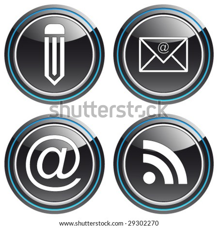 e-mail, rss-feed, pen - button set - stock vector