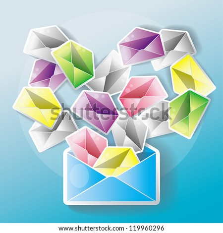 E-mail spreading to an entire network. One mail might cause many little chain mails. - stock vector