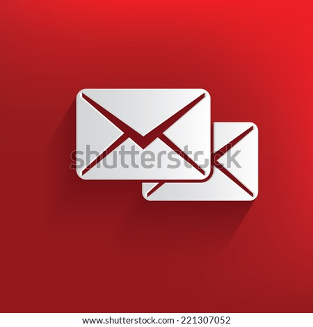 E-mail symbol on red background,clean vector - stock vector