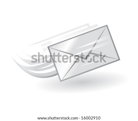 e-mail vector icon in black and white - stock vector