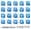 E-mail web icons, blue box series - stock vector