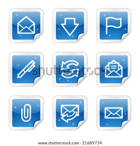 E-mail web icons, blue glossy sticker series