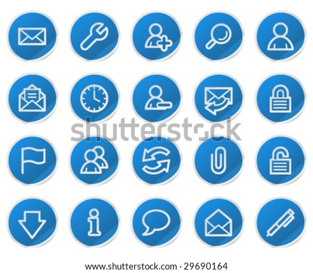 E-mail web icons, blue sticker series