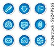 E-mail web icons, blue stickers series - stock vector