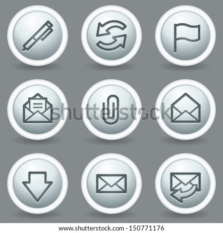 E-mail web icons, circle grey matte buttons - stock vector