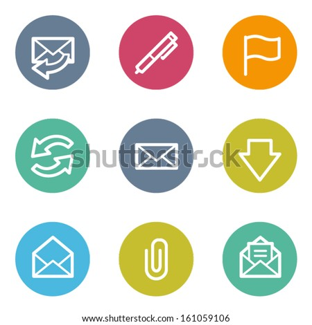 E-mail web icons, color circle buttons - stock vector