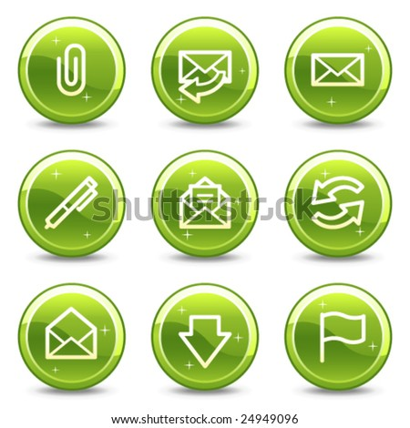 E-mail web icons, green glossy circle buttons series