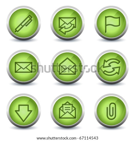 E-mail web icons, green glossy set - stock vector