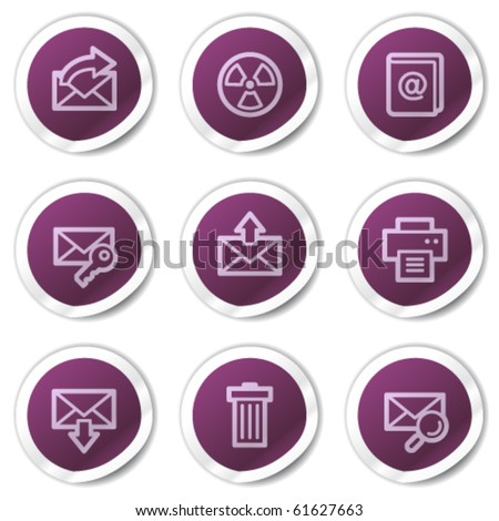 E-mail web icons set 2, purple stickers series - stock vector