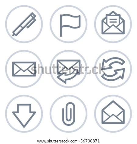 E-mail web icons, white circle series - stock vector