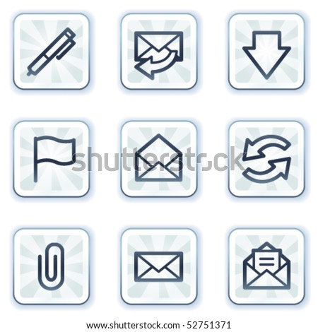 E-mail web icons, white square buttons - stock vector
