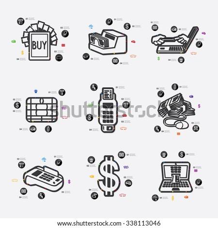 e-money line infographic illustration. Fully editable vector file - stock vector
