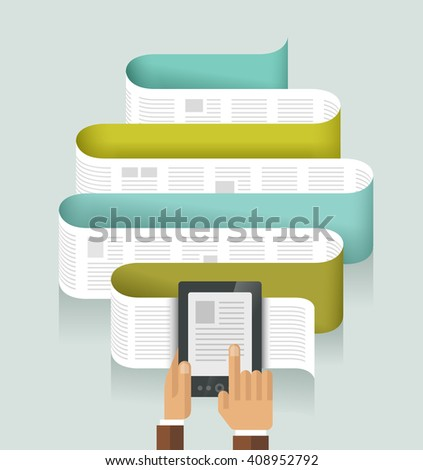 e-reader, e-book, concept - vector illustration - stock vector