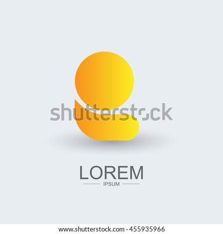 E round shape logo icon yellow gradient, alphabet letter - stock vector