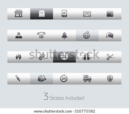 e-Shop // Classic Bars +++ The vector file includes 3 buttons states in different layers. +++ - stock vector
