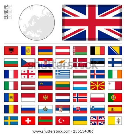 E-shop miniature flags. Europe - stock vector