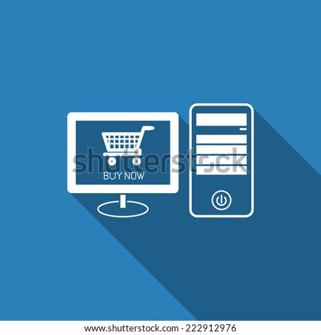 e-shopping icon with long shadow - stock vector