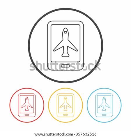 e-ticket line icon - stock vector