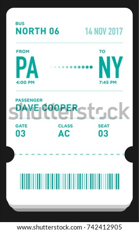 Charming E Ticket Or Boarding Pass Card Template With Bar Code. Bus Ticket Pass  Design  Bus Pass Template