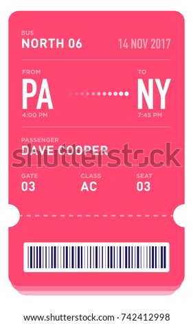 E Ticket Or Boarding Pass Card Template With Bar Code. Bus Ticket Pass  Design  Bus Pass Template