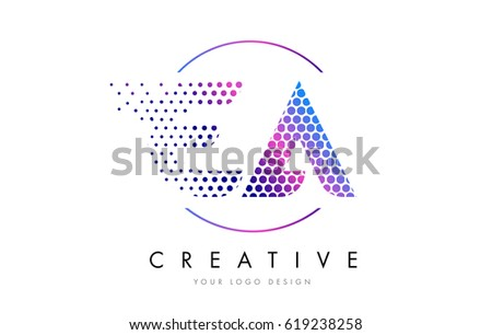EA E A Pink Magenta Dotted Bubble Letter Logo Design Dots Lettering Vector Illustration
