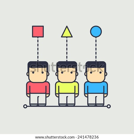 each character has their own point of view. abstract conceptual illustration. - stock vector