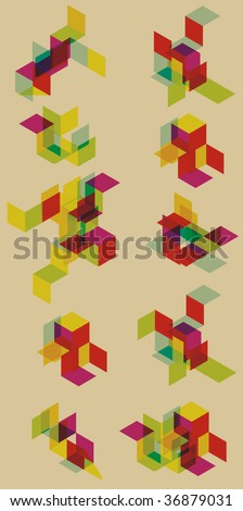 Each grouping is grouped on separate layer. Transparent effect is simulated. - stock vector