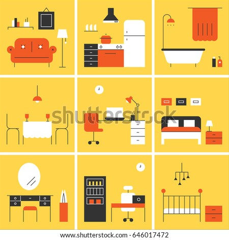Each room interior line style vector illustration flat design