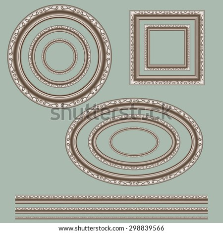 each useful for portraits, paintings or mirrors openwork frame threaded on a green background as a circle, oval and square. - stock vector