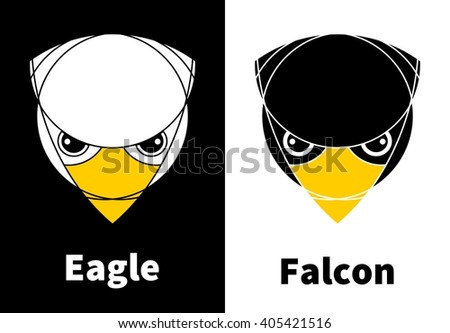 Eagle and falcon heads. Isolated. Reversed colors. Applied for t-shirt, website etc - stock vector