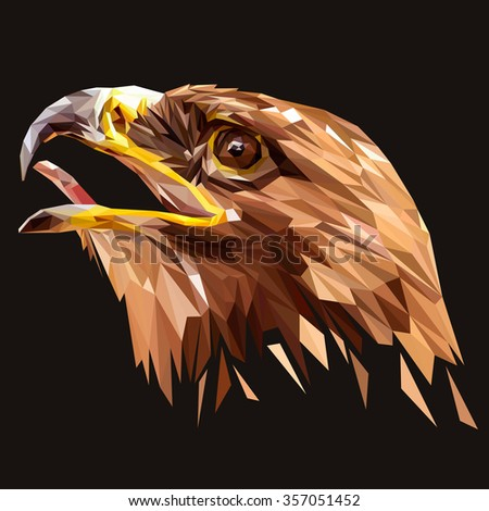 Eagle animal low poly design. Triangle vector illustration. - stock vector