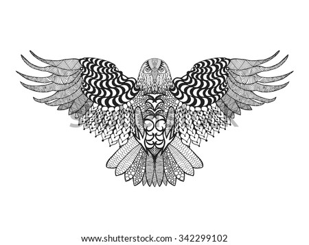 Eagle bird. Black white hand drawn doodle. Ethnic patterned vector illustration. African, indian, totem, tribal, zentangle design. Sketch for avatar, adult coloring page, tatto, poster, print, t-shirt