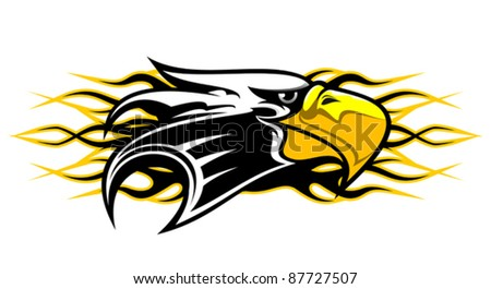 Eagle cartoon mascot with flames for tattoo design, such a logo. Rasterized version also available in gallery - stock vector