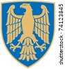 eagle (coat of arms, emblem) - stock photo