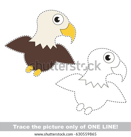 Eagle. Dot To Dot Educational Game For Kids, Trace Only Of One Line.