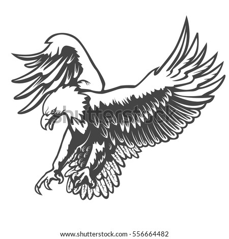 Eagle emblem isolated on white vector illustration american symbol of liberty
