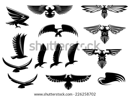 Eagle, falcon and hawk birds vector icons showing the bird flying or with outspread wings with feather detail - stock vector