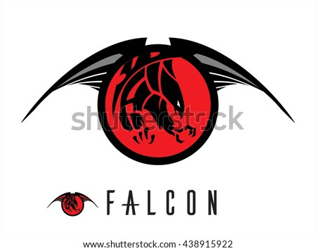 Eagle. Falcon.  Unique design of attacking falcon. chasing falcon with the extreme claw  attacking black falcon with sharp big claw on the winged red circle tribal. - stock vector