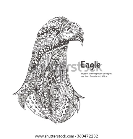 Eagle. Hand-drawn eagle with ethnic floral doodle pattern. Coloring page - zendala, design for spiritual relaxation for adults, vector illustration, isolated on a white background. Zen doodles. - stock vector