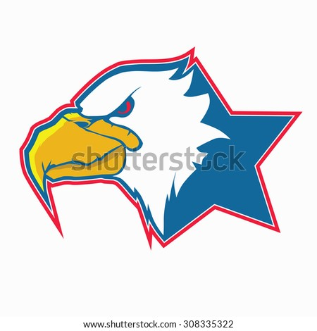 eagle head mascot with star background