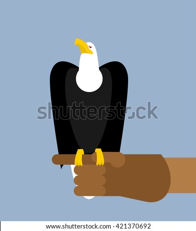 Eagle hunting. Bald eagle on his arm. Trained wild bird of prey. Hawk sitting on glove - stock vector