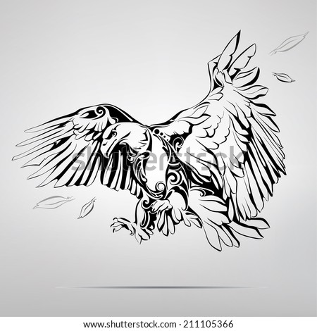 Eagle in an ornament. Vector illustration - stock vector