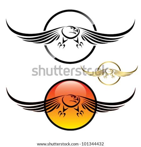 Eagle in flight symbol - vector - stock vector