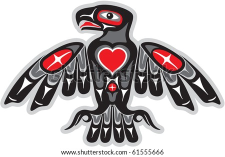 Eagle in Native Art Style with Heart Shape - stock vector
