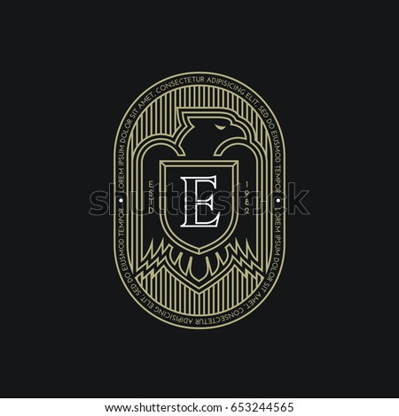 Eagle Label Template Design With A Shield In Outline Style Vector Illustration